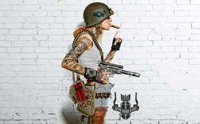 Picture girl, weapons, background, cigar, fallout, tattoo, helmet, dynamite, fallout 4