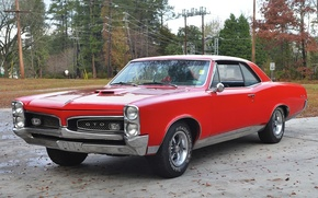 Picture red, retro, coupe, red, muscle car, classic, muscle car, coupe, 1967, pontiac, Pontiac, hardtop, gto, …