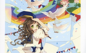 Picture joy, paper, rainbow, Lotus, pigeons, girl, brush, flags, takes, Mia, art, green eyes, sailor