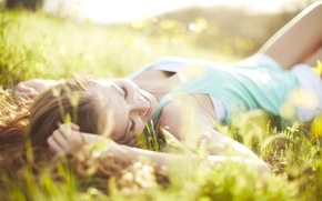 Picture widescreen, relaxation, face, HD wallpapers, Wallpaper, greens, girl, full screen, positive, the sun, good mood, ...