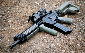 Picture weapons, machine, gravel, AR-15, assault rifle