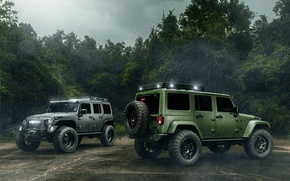 Wallpaper Off Road, Jeep, Wrangler, Cars, Black, Green, Rain