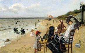 Picture sea, picture, genre, Ernest Ange Duez, Mother with Daughter on the Beach