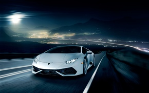 Picture night, movement, Lamborghini, horizon, white, front, LP 610-4, Huracan, Ronaldo Stewart, LB724