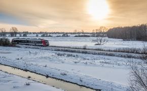Picture winter, mist, ocean, seascape, Højerup Church, fog, sea, railroad, on the edge, sun, train, cloudy, …