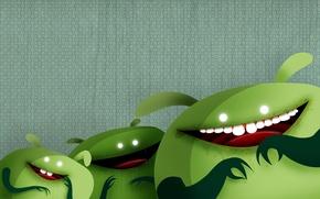 Wallpaper laughter, Green men, aliens