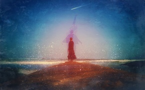 Picture wave, beach, the sky, woman, boats, shooting star, climbing