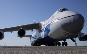 Picture Russia, front view, the airfield, chassis, engines, Ruslan, Airline Flight, name - Boris Naginsky, Aн ...