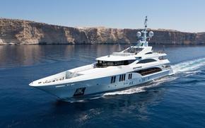 Picture sea, shore, yacht, Suite, superyacht