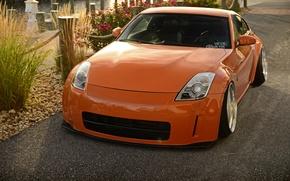 Picture car, orange, nissan, 350z