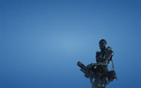 Picture weapons, robot, minimalism, terminator, skeleton, red eyes, blue background, Terminator