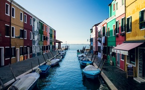 Picture the sky, home, boats, Italy, Venice, channel, Burano island
