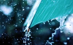 Wallpaper drops, macro, rain, umbrella