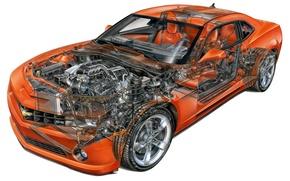 Picture engine, orange, Camaro SS, salon, coupe, 2009
