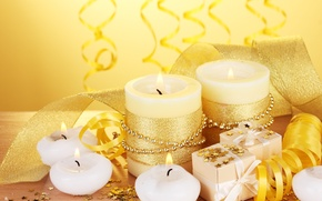 Wallpaper stars, gifts, holiday, candles, serpentine, gold, tape