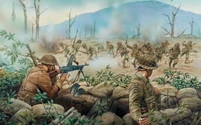 Picture city, art, soldiers, battle, the battle, army, values, between, April, WW2., British, army, 1944., turning, …