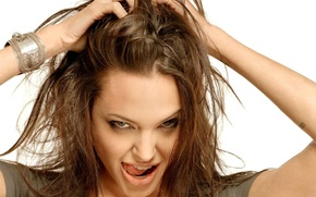Picture look, hair, tongue, Angelina jolie