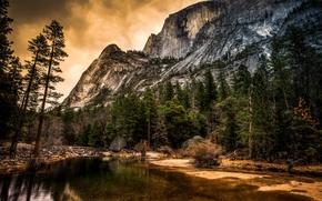 Picture trees, nature, river, rocks, Yosemite, Yosemite, California, National park