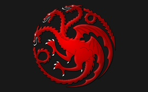 Picture symbol, dragon, Game of Thrones, fire and blood, House Targaryen, red dragons