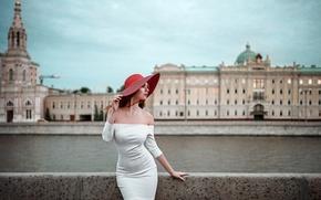 Picture girl, the city, dress, hat, Russia, Nadia, George Chernyadev, Hope Niyazova, Beauty in Moscow