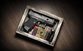 Wallpaper gun, box, Glock 26, self-loading