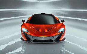Picture McLaren, Auto, Machine, Orange, The hood, Lights, The front, Sports car