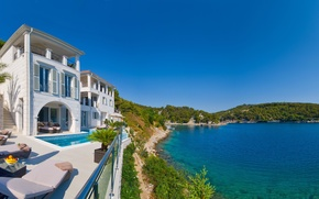 Picture sea, shore, Villa, pool, Brac, Dalmatia, Brac Island