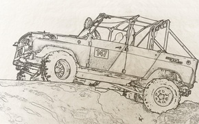 Picture figure, SUV, the roads, 4x4, off-road, trophy, uaz, UAZ