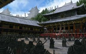 Wallpaper weapons, people, Asia, army, warrior, art, samurai, yard, temple, armor, training