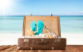 Picture sand, sea, Board, bottle, shell, suitcase, slates, starfish