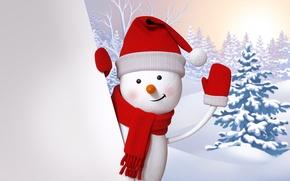 Picture snowman, happy, winter, snow, cute, snowman