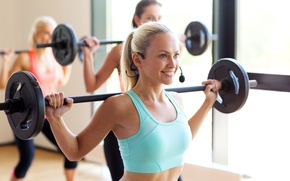 Picture woman, trainer, aerobics class with weight