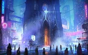 Picture night, the city, future, people, street, robot, Church