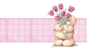Picture flowers, mood, holiday, gift, Tulip, art, bear, children's, Forever Friends Deckchair bear