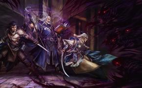 Picture girl, darkness, magic, monster, sword, battle, warrior, fantasy, MAG, book, dagger, staff, girl, sword, fantasy, ...