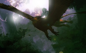 Picture forest, birds, nature, anime, art, guy, Griffin, amsbt