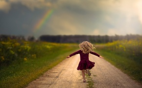 Picture road, freedom, rainbow, running, girl