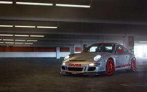 Picture silver, Parking, porsche, Porsche, gt3, headlights, silvery, гт4, red wheels