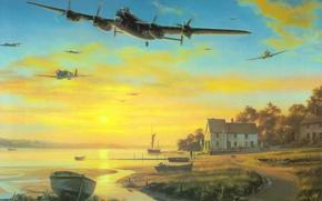 Picture war, airplane, painting, ww2, Avro Lancaster, british bomber, aviation art
