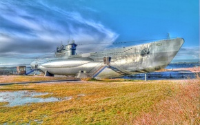 Picture boat, ship, Germany, Navy, underwater, the beach, German, submarine, type, installed, average, U-995, HDR., Museum, …