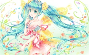 Picture girl, flowers, art, microphone, bows, vocaloid, hatsune miku, Vocaloid, pebbles, emurina, tiara