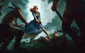 Picture forest, girl, dress, knife, art, the natives, musket