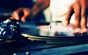 Wallpaper record, hands, turntables, DJ, music