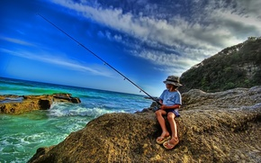 Picture sea, shore, fishing, fisherman, rod