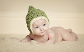 Picture eyes, children, background, widescreen, Wallpaper, mood, hat, child, baby, wallpaper, green, cap, widescreen, baby, background, ...