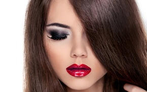 Picture white, face, eyelashes, background, model, hair, makeup, eyebrows, closed eyes, red lips