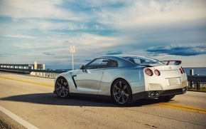Picture Nissan, GT-R, Car, R35, Sport, Road, Silver