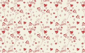Picture background, love, kiss, hearts, Heart