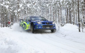 Picture Winter, Auto, Blue, White, Subaru, Impreza, Snow, Forest, Sport, Machine, Race, Day, Lights, wrc, Rally, ...