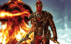 Picture the explosion, fire, fire, mad, Mad, Deadpool, Marvel, Deadpool, Wade Wilson, Marvel, Wade Wilson, Madpool